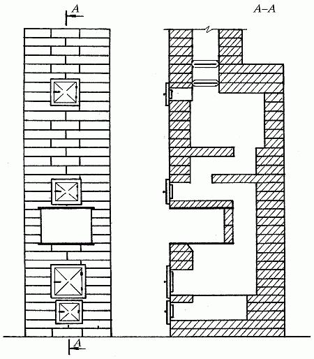 Схема малой отопительной печи