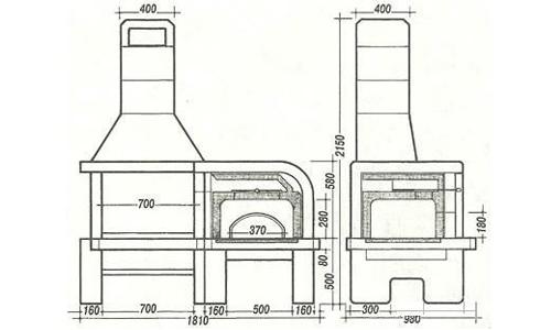 Схема кирпичной барбекюшницы