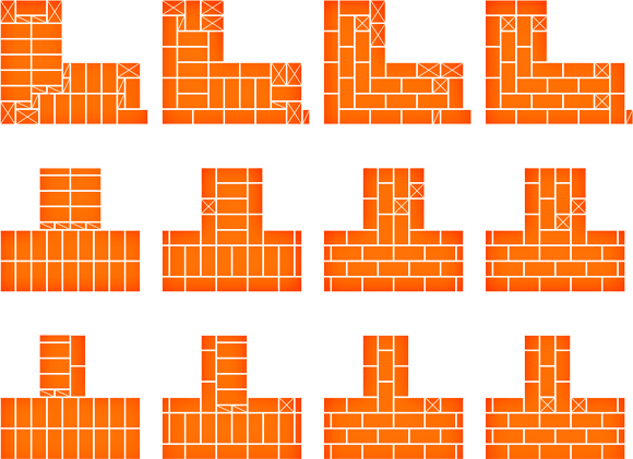 Схема многорядной кладки в 2 кирпича