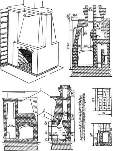 Схема размеров кирпичного