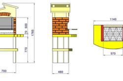 Схема размеров кирпичного мангала