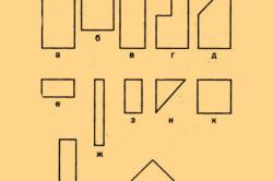 Формы кирпича: а) — целый кирпич, б, в, г, д) — трехчетвертки,  е, ж, з, и) — четвертки, к, л, м) — половинки.