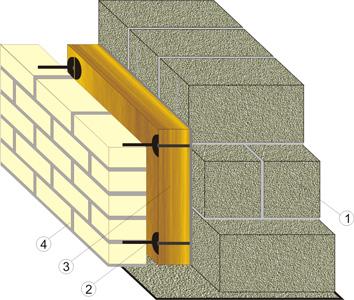 Устройство трёхслойной кладки с применением керамзитобетонного блока