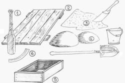 Материал и интрументы для замеса