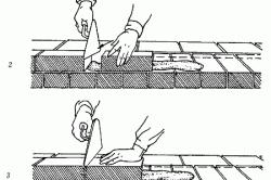 Порядок кладки вприжим ложкового ряда наружной версты: 1-4 – последовательность действий