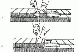 Порядок кладки вприжим тычкового  ряда наружной версты: : 1-4 – последовательность действий