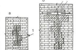 """Способы заделки трещин в кирпичной кладке: а - простой замок; б - замок с """"якорем""""; 1 - новая кирпичная кладка; 2 - """"якорь"""" из двутавровых балок; 3 - бетон"""