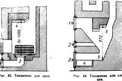 Схемы топливников для дров и для сланцев.