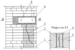 Схема заделки сквозной трещины кирпичным замком с якорем: 1 – усиливаемый участок стены; 2- трещина; 3 - кирпичный замок; 4 – «якорь» из проката; 5 – стяжные болты