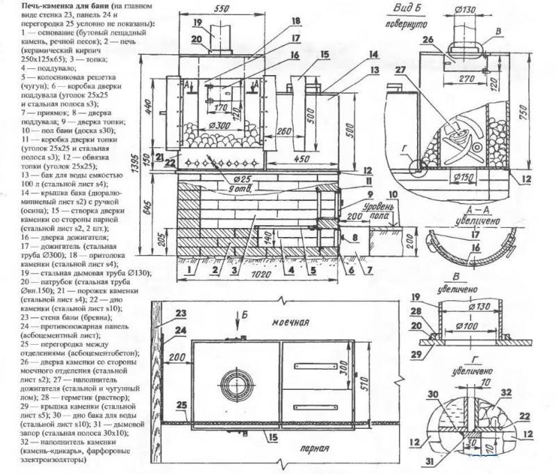 Схема чертежа печи для бани