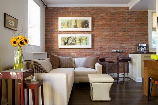 Кирпичная стена в дизайне интерьера квартиры