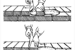 Схема процесса кладки кирпича