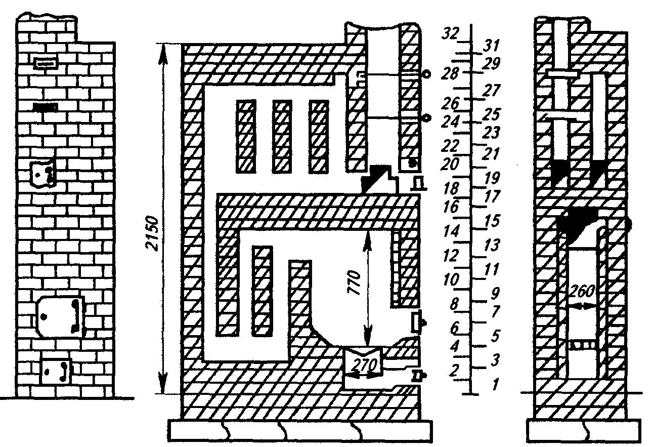 Печь с умеренным нагревом используют для отопления двух комнат с расположением топки в коридоре.