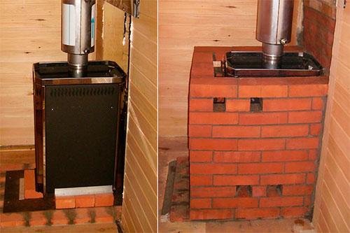 Для обкладки металлической печки используется не обычный строительный кирпич, а полнотелый огнеупорный (печной).