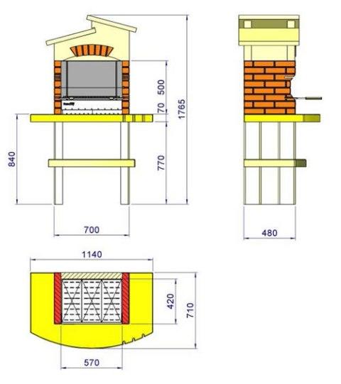 Схема барбекю с размерами