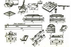 Инструмент для отделки печей: 1) ковш; 2) совок; 3) кельма; 4,5) соколы; 6,7) полутерки; 8,12) правила; 9,11) терки; 13,14) гладилки.