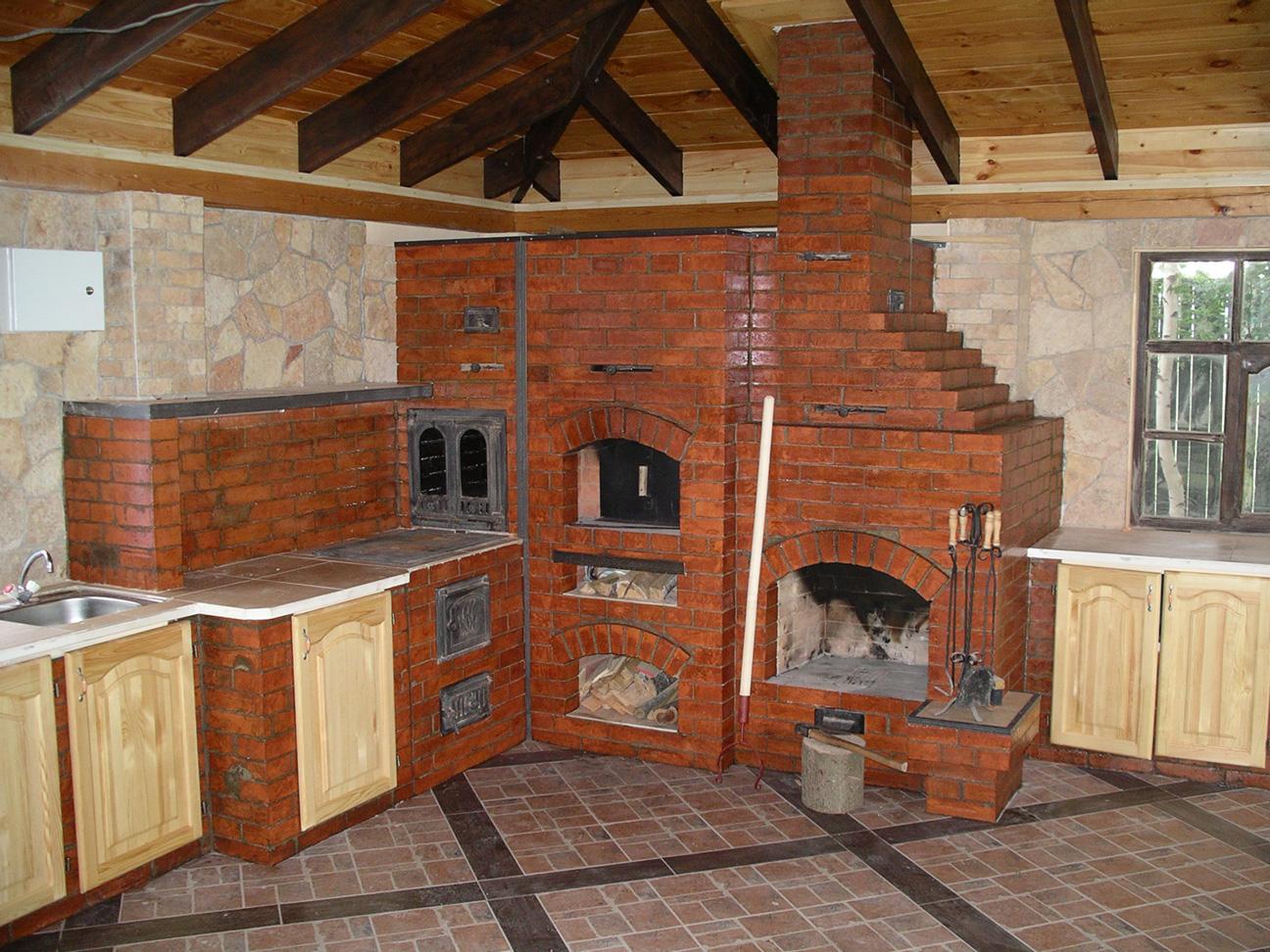 Печка из кирпича для бани