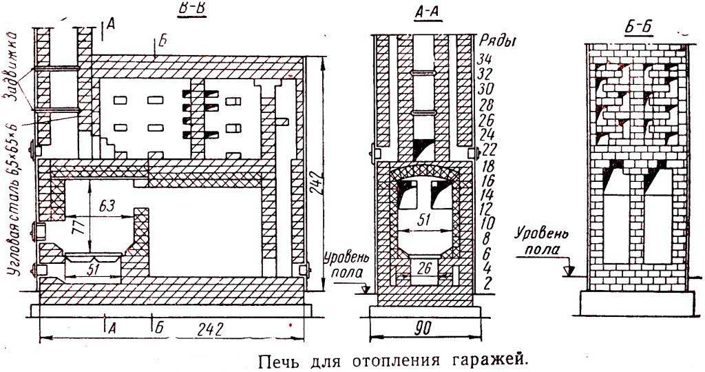 Схема печи для гаража