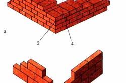 Схемы печной кладки в один кирпич (а) и в 1/4 кирпича (в): 1 — тычки, 2 — ложки, 3 — лицо, 4 — постель