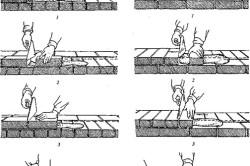 Кладка вприжим: а — ложкового ряда; б — тычкового ряда; 1-4 — последовательность действий