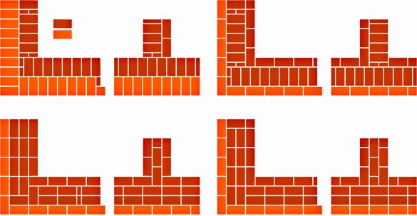 Схема четырехрядной кладки в 2