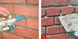 Заполнение швов в кирпичной стене
