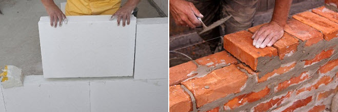 Кирпич отлично подходит для постройки фундамента и несущих стен, а пеноблоки – для строительства перегородок, лоджий и утепления.