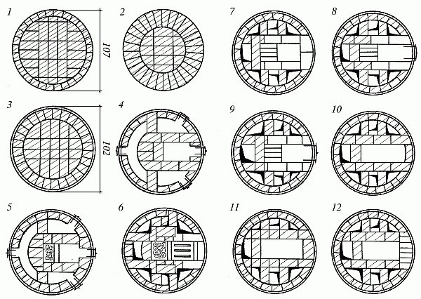 Схема последовательности кладки круглой печи с металлическим каркасом.