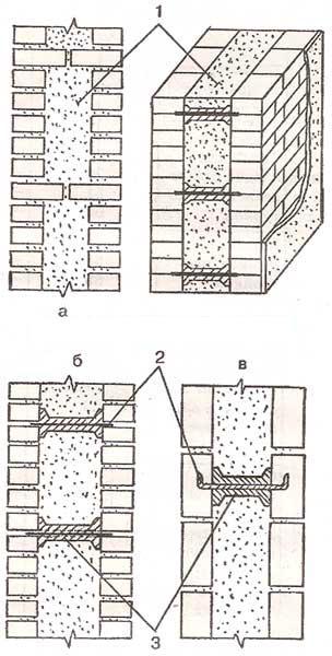 Облегченная кирпичная кладка с горизонтальными диафрагмами
