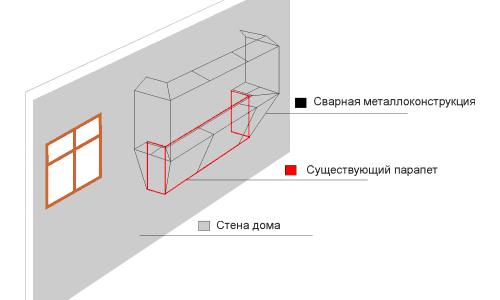 Схема наружной стены лоджии