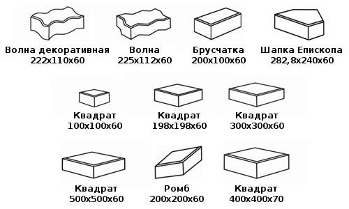 Форма и размеры тротуарной плитки